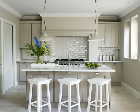 White And Grey Galley Kitchen transitional galley kitchen with recessed-panel cabinets, grey