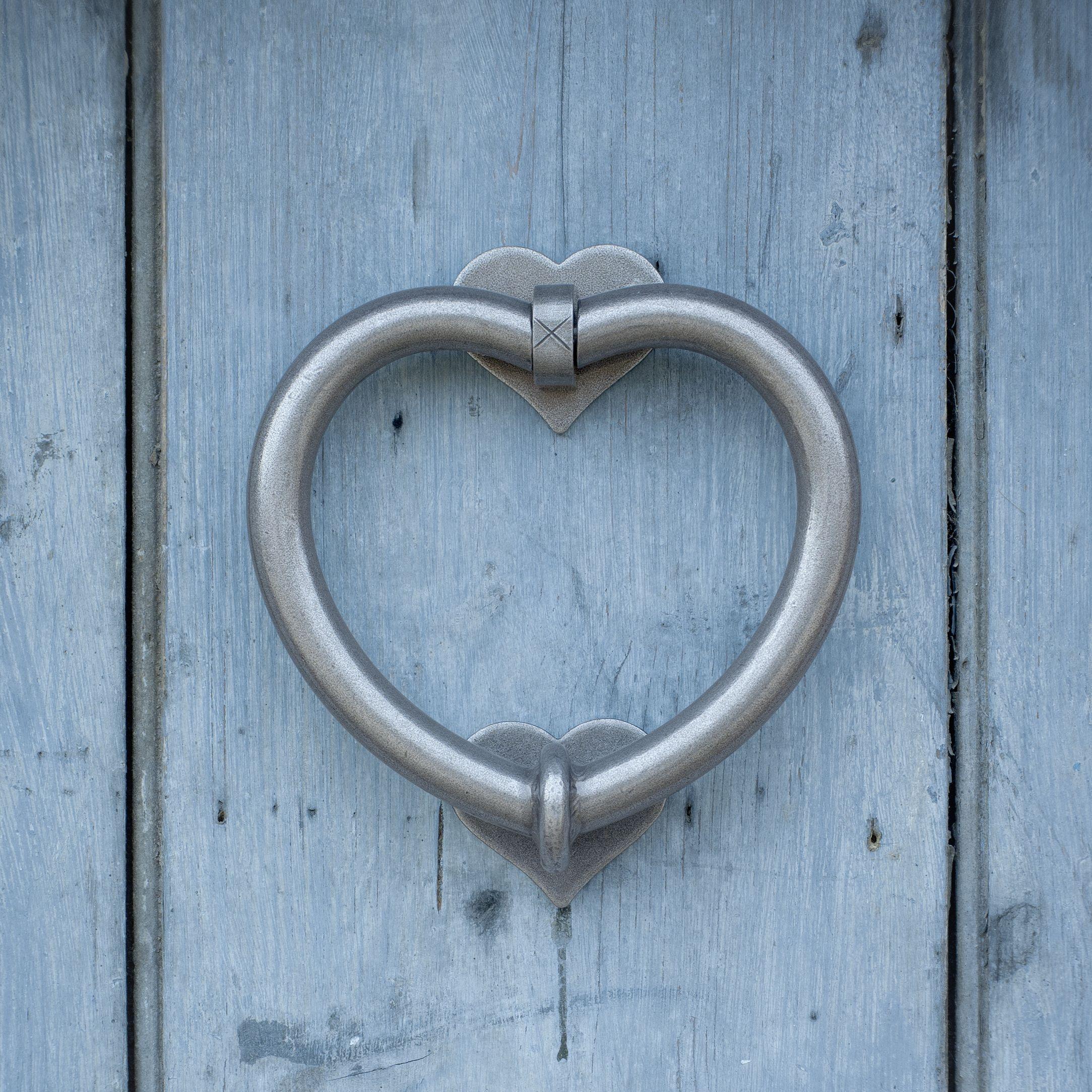 Heart Door Knocker On A Shabby Chic Blue Door