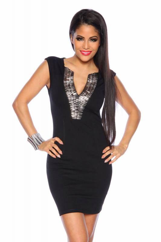 OnlineshopKurze schwarz Cocktailkleid Kleidung Ausschnitt V My JTl1FKc