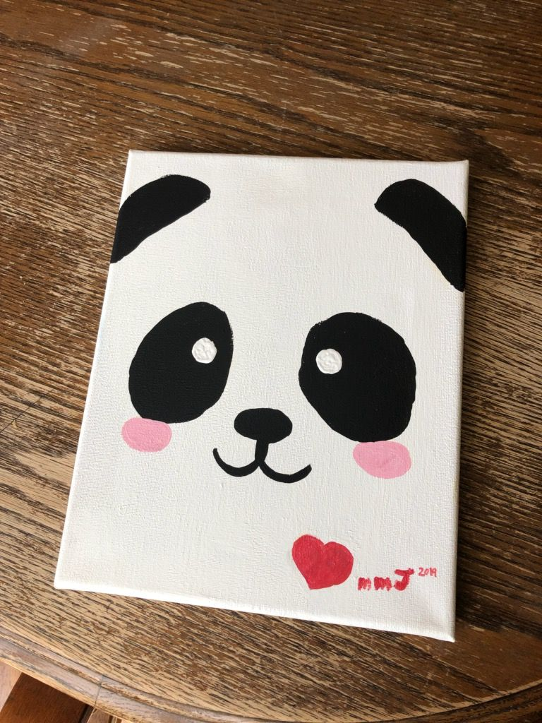 Panda By Millie Diy Canvas Art Painting Simple Paintings Minion