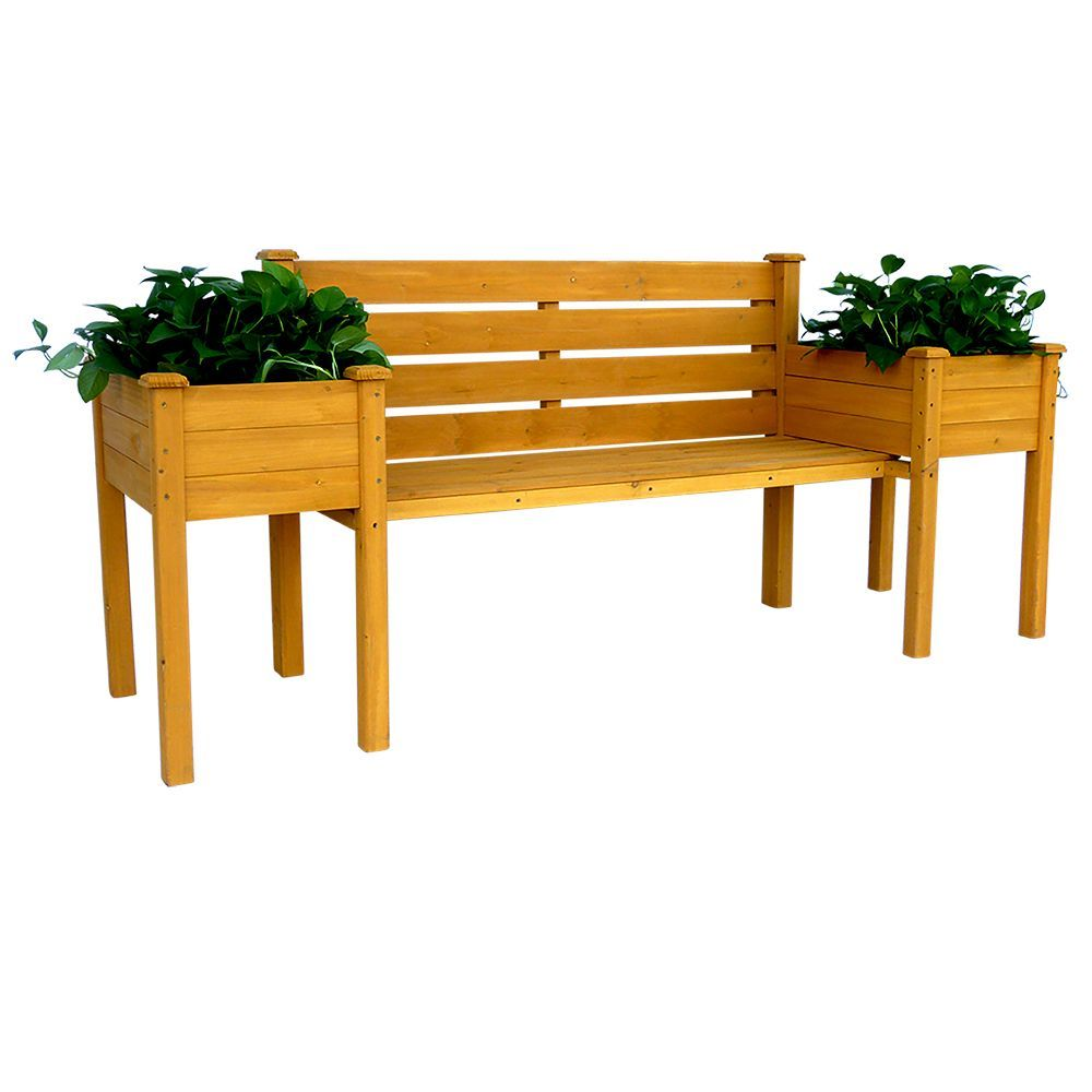 This Wooden Bench With A Backrest And Planter Boxes