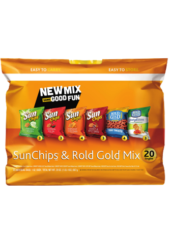 Sun Chip And Rold Gold Variety Pack Flavors Sun Chips Sour Cream And Onion Garden Salsa Harvest Cheddar And Bb Sour Cream And Onion Sun Chips Sour Cream
