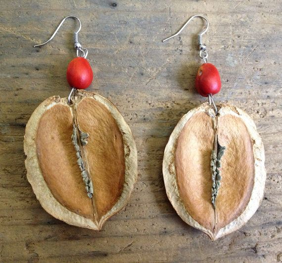 Jacaranda Pod And Lilac Seed Handmade Earrings Seed Pods