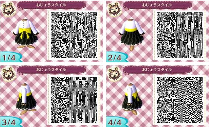 Animal Crossing New Leaf Qr Codes Black Skirt Yellow Bow Qr Codes Animals Qr Codes Animal Crossing Animal Crossing Qr