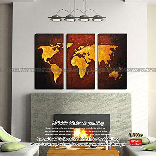BPAGO- 3 Panels World Map Modern Framed Abstract Painting... http://a.co/du0NjdQ #map #abstractmap #worldmap #canvasprints #homedecor #poster #wallart #fineart