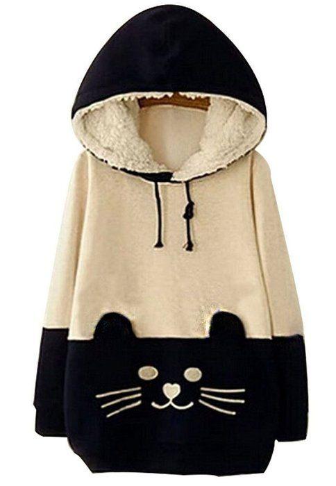 FAYALE Woman Girls Sweater Cartoon Cat Fleece Hoodie Pullover Sweatershirt (L/US M, Beige&Dark blue)