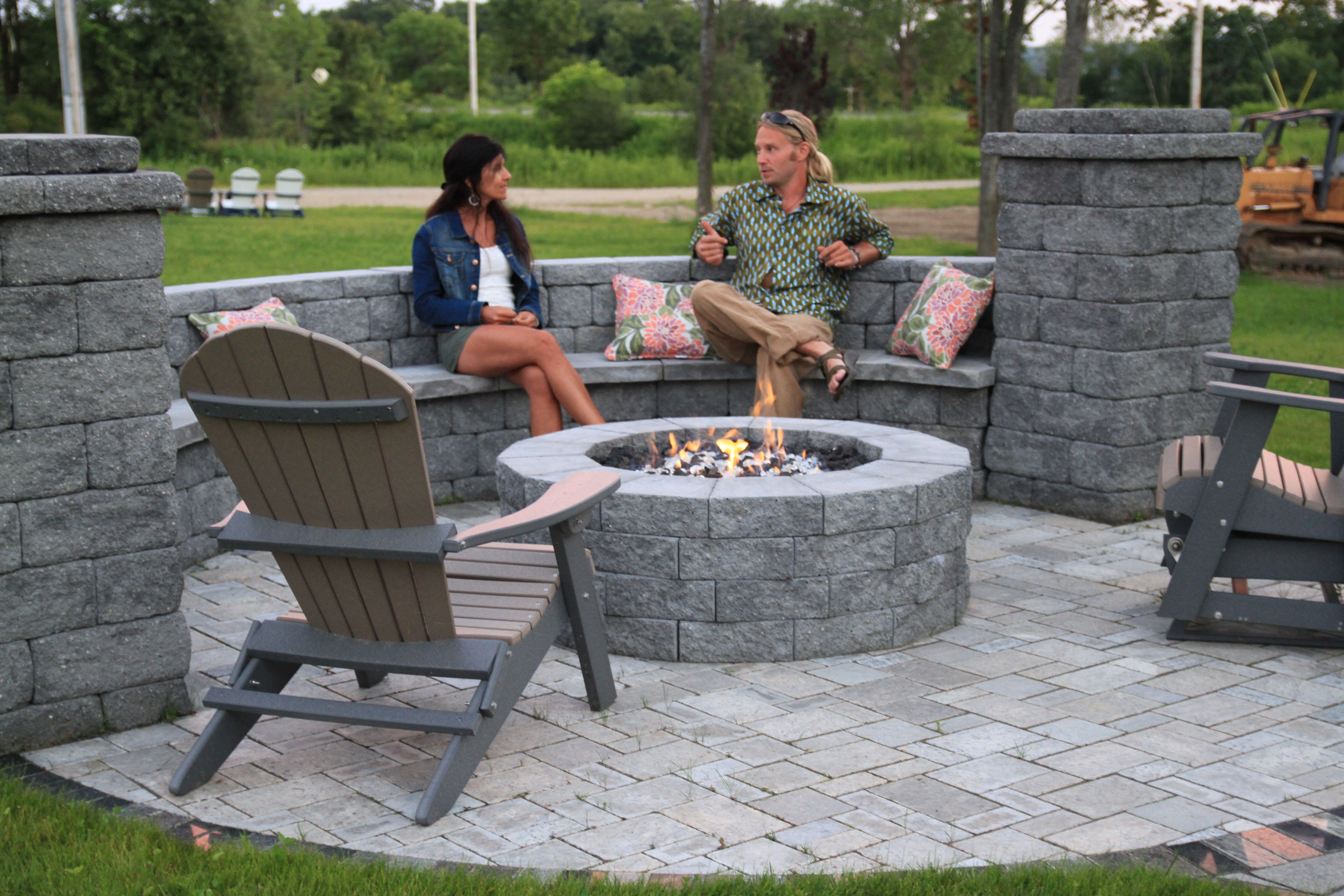 Attrayant Cambridge Pyzique Split Face Fire Pit. Polywood Adirondack Chairs, Sol  Stone Pavers