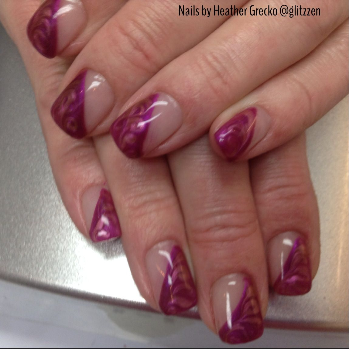 LCN\'s Berry Punch marbled with Fairytale Rose magic gel! | nails ...
