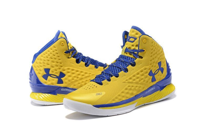 f61439136abf Men s Under Armour Stephen Curry One Yellow Blue Basketball Shoes ...