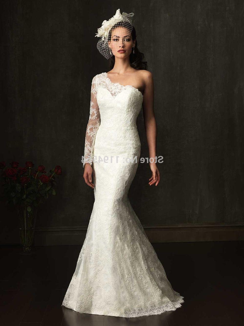 Long Sleeve One Shoulder Wedding Dress Longsleeve Dress