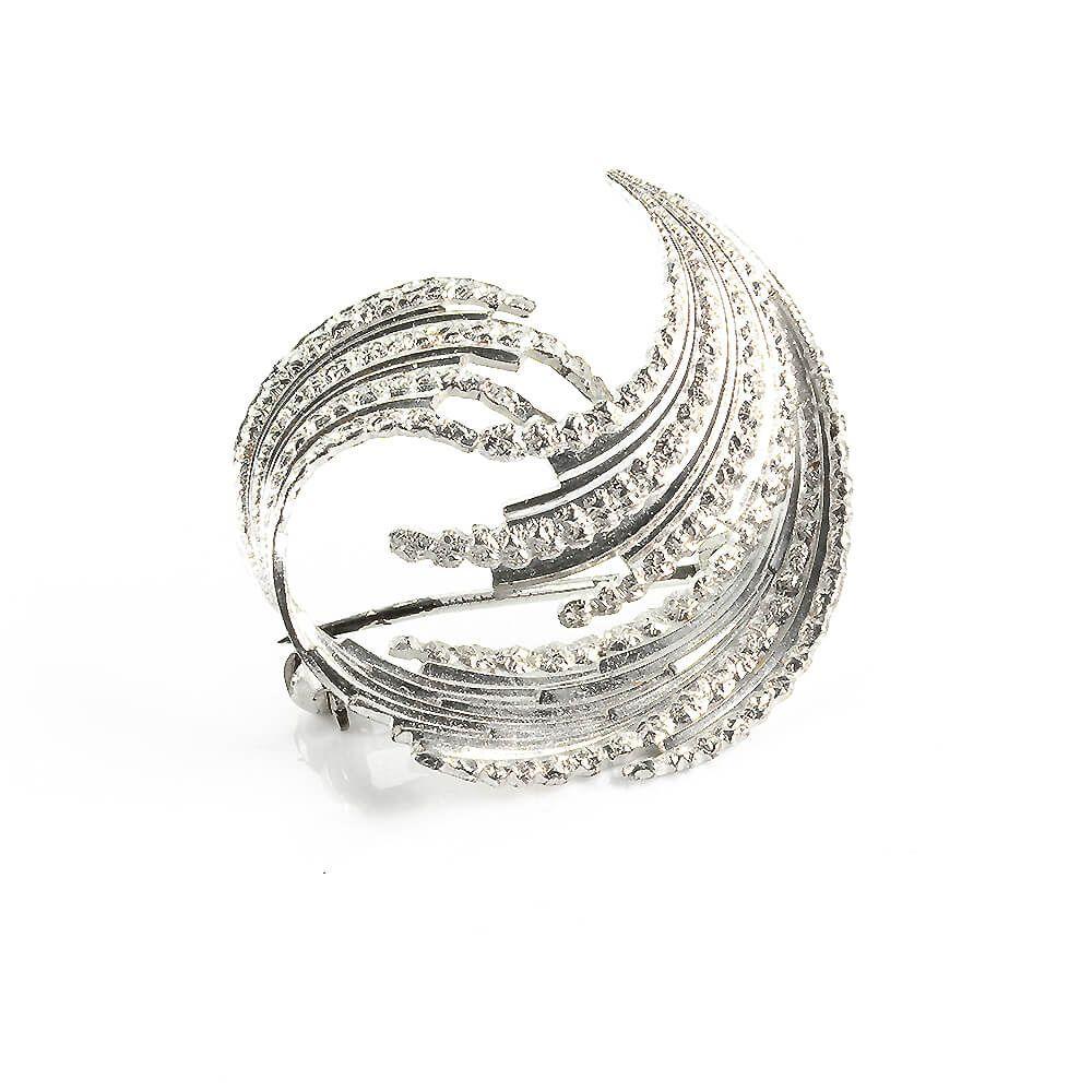 Diamantierte Brosche Andreas Daub Pforzheim Aus Rhodiniertem Silber 925 Vintage Um 1970 Brosche Silber Silber 925