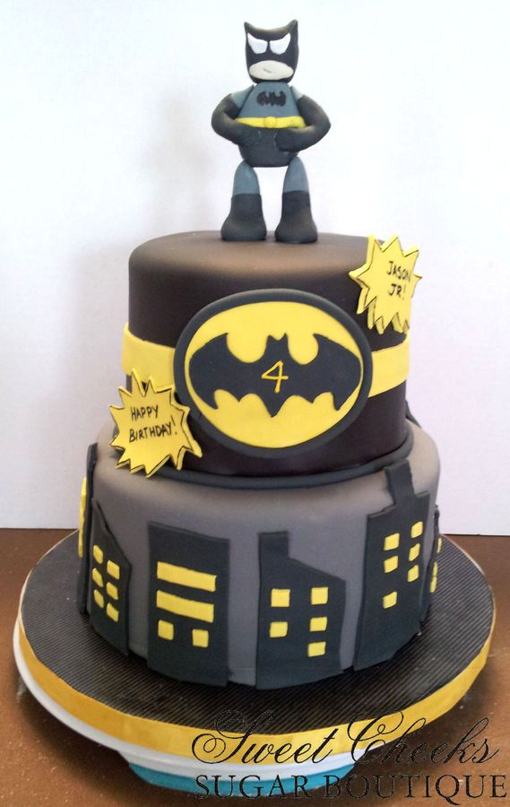 baby 4 Batman Cake with a much nicer 3D eatable topper Holidays