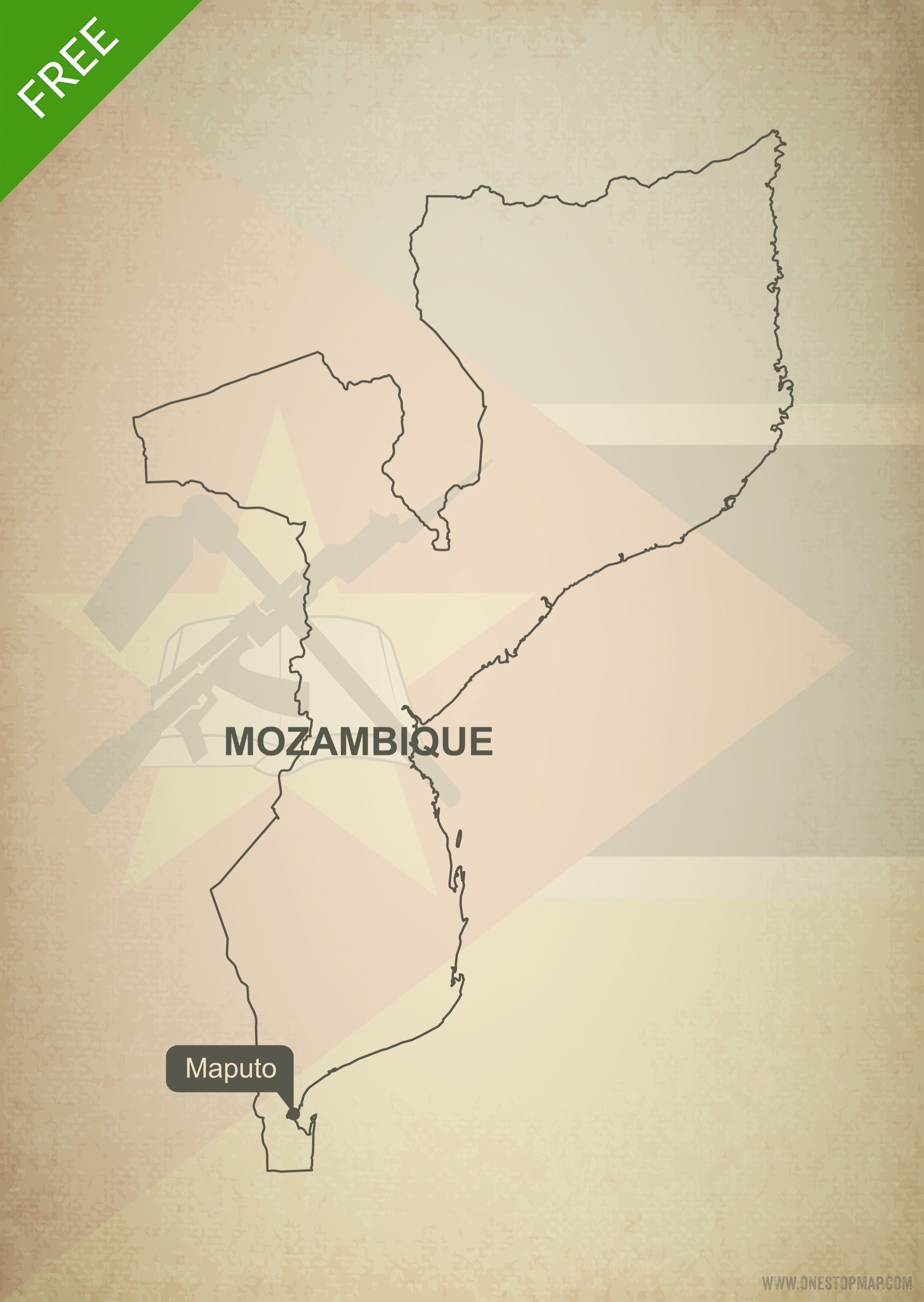 Free map of Mozambique outline Printable