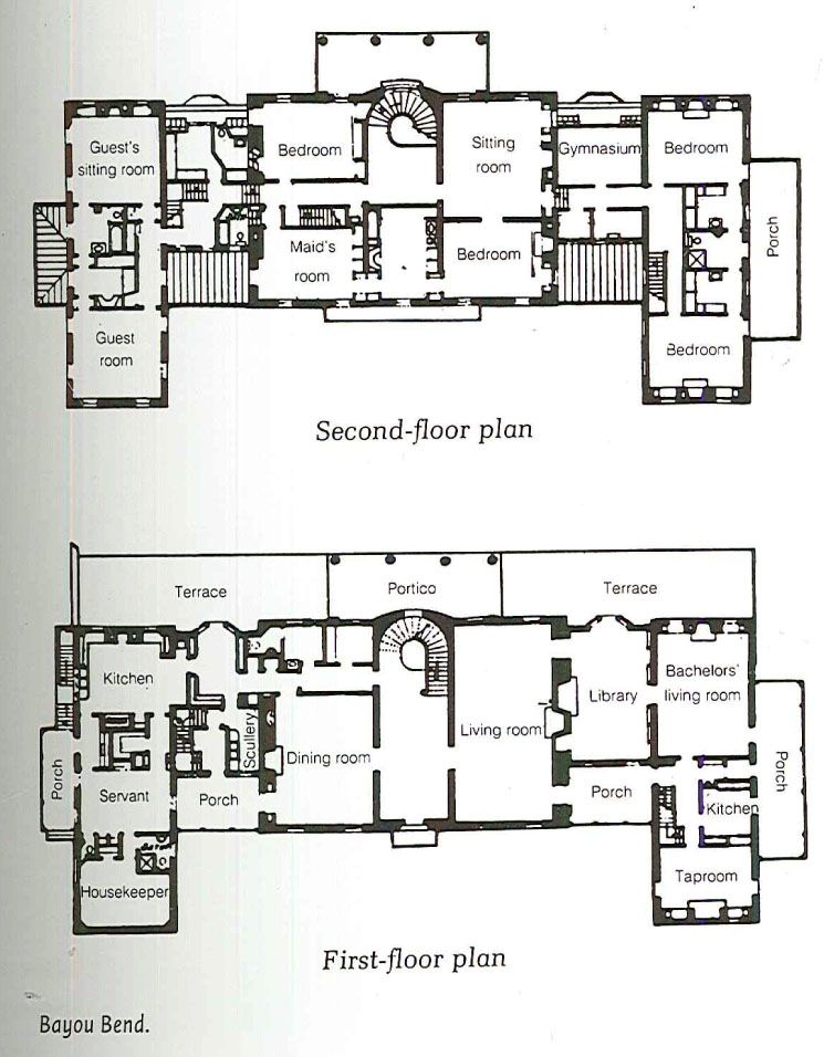 lovely house plans houston #4: Bayou Bend, Houston, original floor plan.