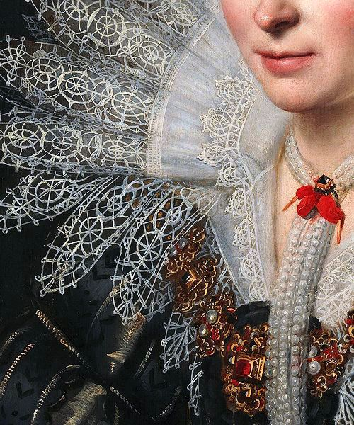 Traveling through history of Art...Portrait of a Lady, detail, by Michiel Van Mierevelt, 1620.