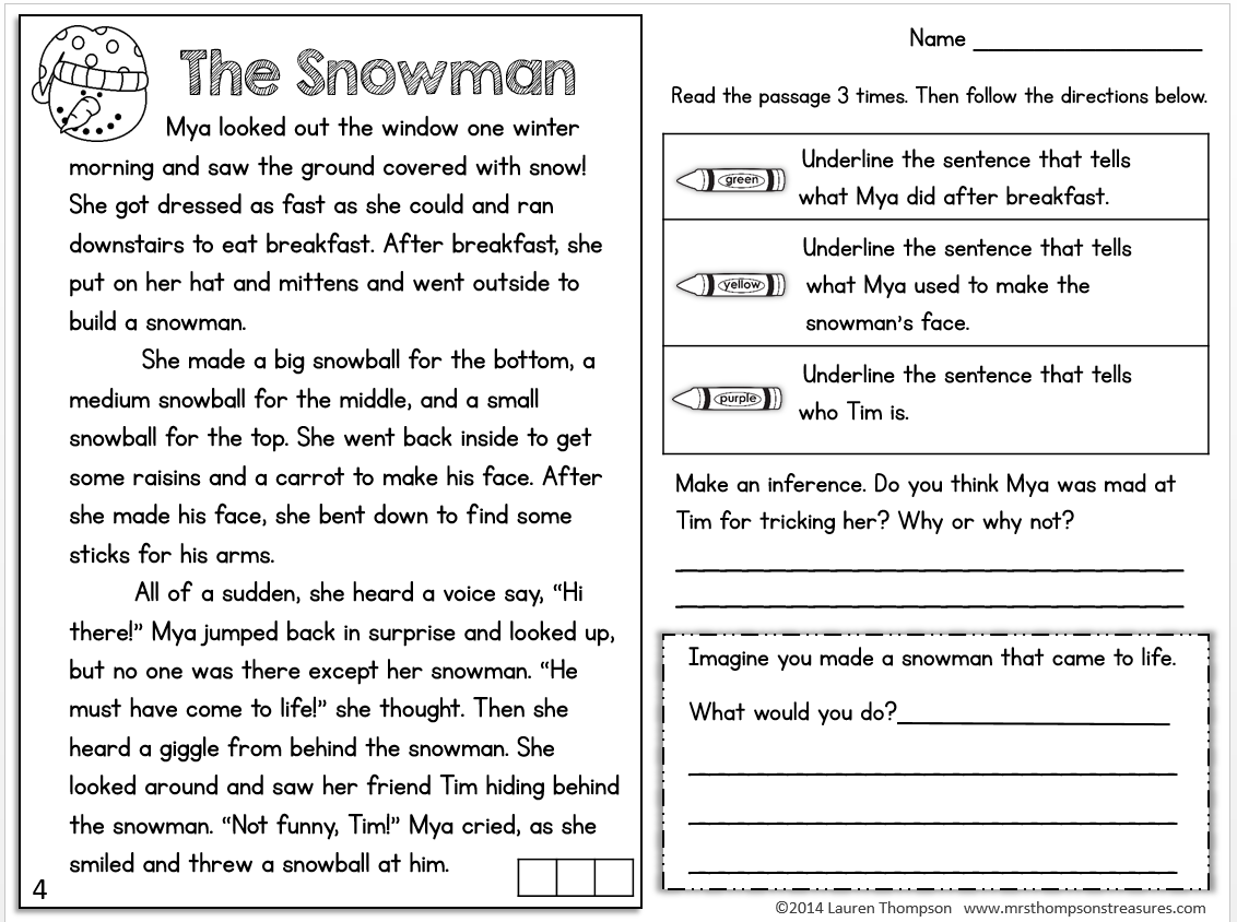 FREEBIE Text evidence reading comprehension passage snowman – Free Printable 6th Grade Reading Comprehension Worksheets