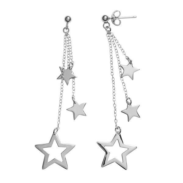 Journee Collection Sterling Silver Dangling Star Earrings
