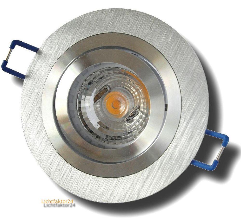 led einbaustrahler gu10 dimmbar 230v spot sandy aluminium cob 7w lampen hochvolt led. Black Bedroom Furniture Sets. Home Design Ideas