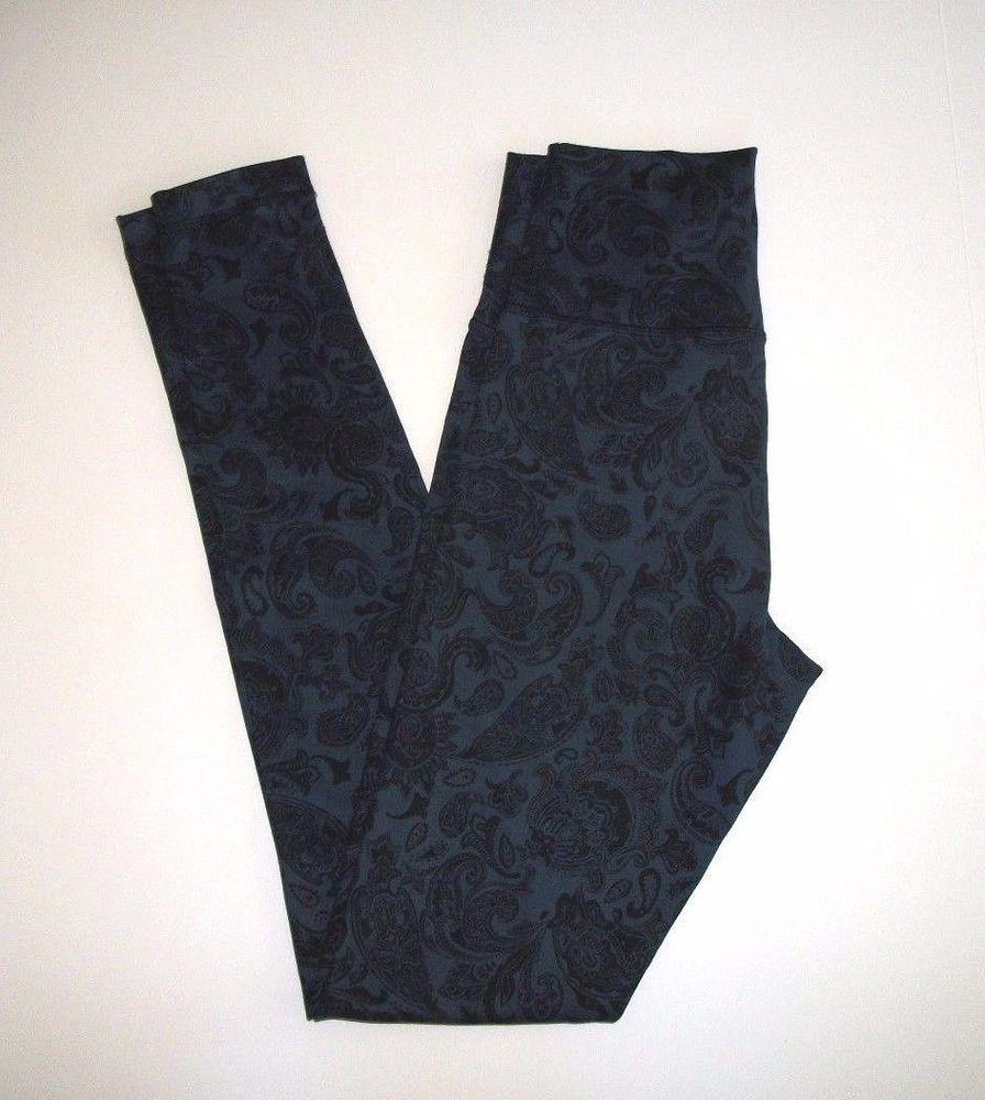 e138009e7 Lululemon Wunder Under Legging Yoga Pants Size 4 Navy Black Paisley Print   Lululemon  PantsTightsLeggings