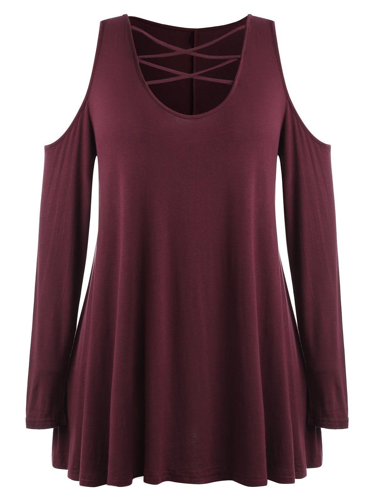 Plus Size Lattice Front Open Shoulder T-shirt -  b251e93fa308