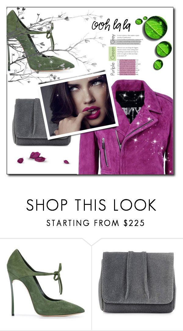 """""""Purple, Green, Gray"""" by tina-miholic ❤ liked on Polyvore featuring Casadei, Lauren Merkin and Barbara Bui"""