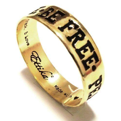Amazon.co.jp: ettika ( エティカ ) 【 ゴールドメッセージバングル peace reflect inspire be free bracelet  】  アクセサリー: ジュエリー