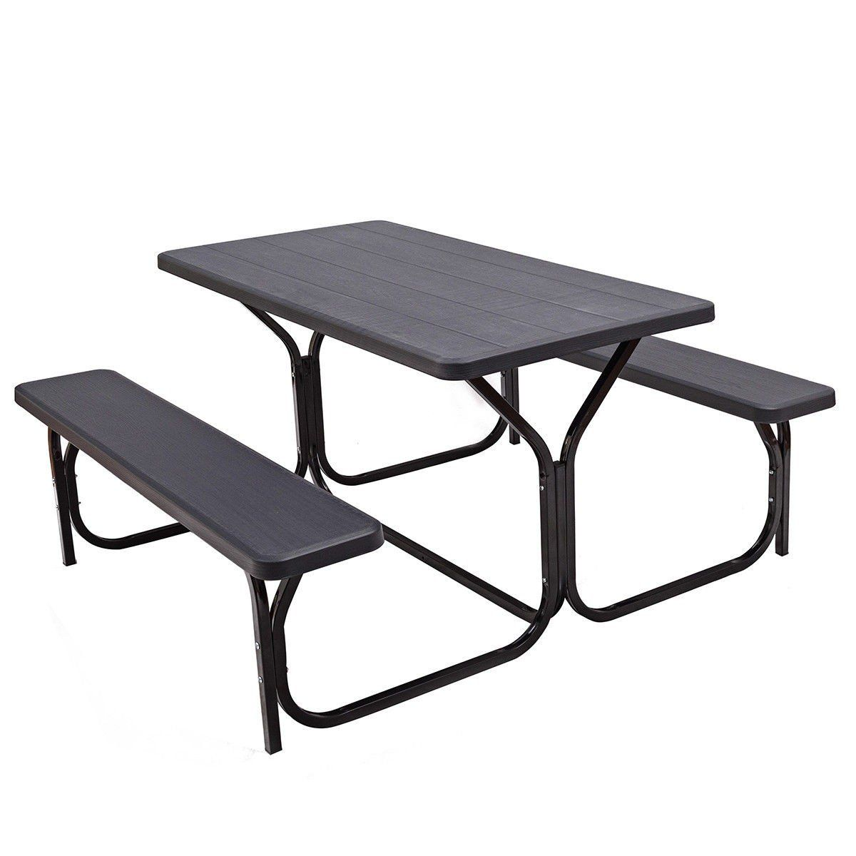Custpromo Picnic Table And Bench Set All Weather Resistant Steel Frame Wood Like Texture Outdoor D Picnic Table Bench Table And Bench Set Outdoor Picnic Tables