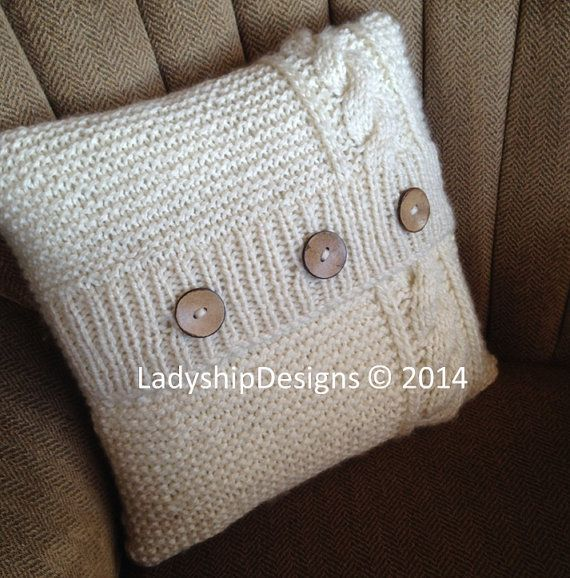 Pdf Knitting Pattern Cable Knit Pillow Cover Pattern Knitted