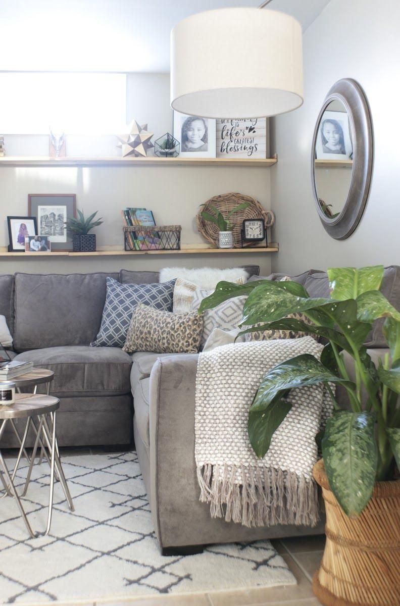 Cozy Basement Family Room Reveal | Diy living room decor ...
