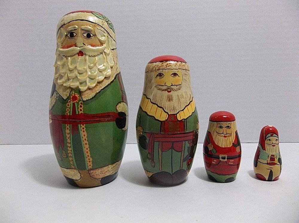 Vintage Carved Wood SANTA Christmas Nesting Dolls Set Of 4