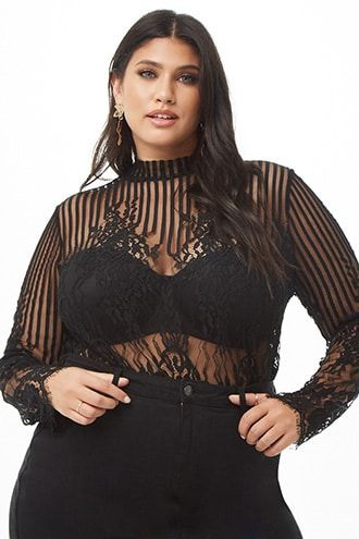 4a56f45a59 Plus Size Sheer Lace Top