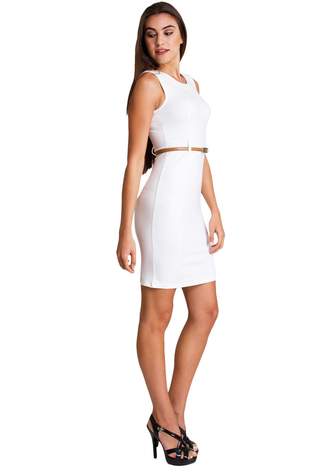 Sleeveless Suit Dress With Belt D3054w Clothing Clothes Womens