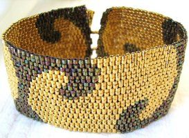 Golden Nights Peyote Cuff by SandFibers
