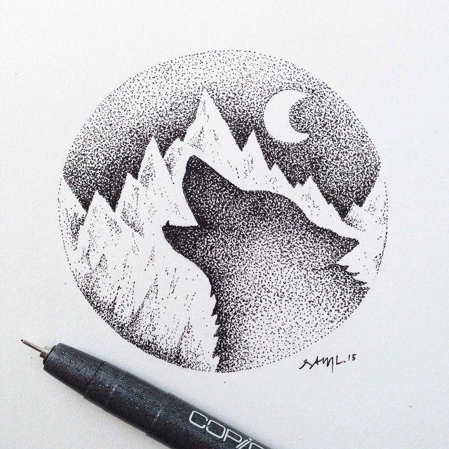 Lotsa Dots Lonewolfseries Wolf Illustration Doodlebug Art