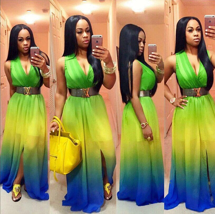 US Women Boho Tie-Dye Tank Maxi Dress Summer Beach Long Evening Party Sundress