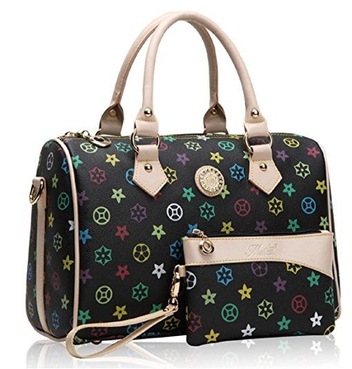 GetThatBag® Crystal monogramme Barrel Sacs bowling Handbag Sac d'épaule (Noir)