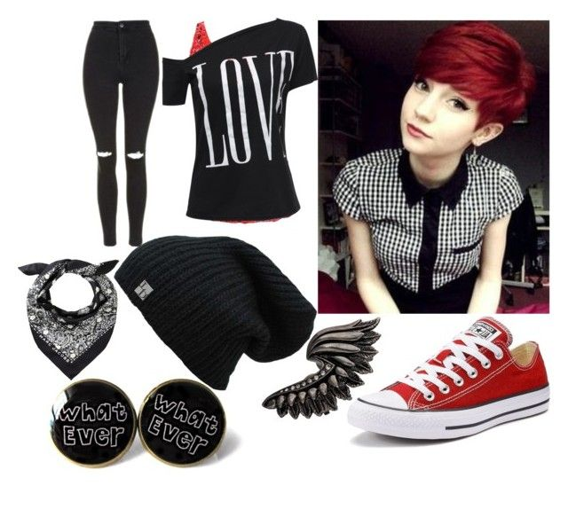 """""""Mione"""" by elli-jane-xox ❤ liked on Polyvore featuring Topshop, Converse and Roberto Cavalli"""