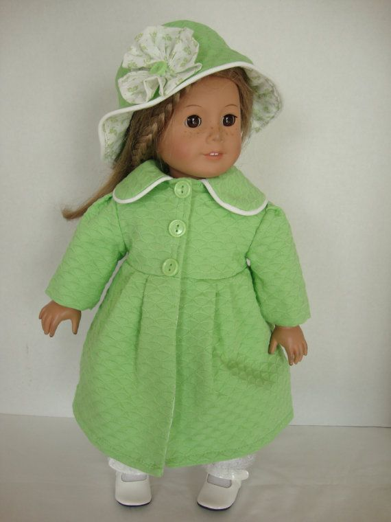 Handmade American Girl Doll Clothes, Spring Green Lined Coat with Hat, Handmade 18 Inch Doll Clothes