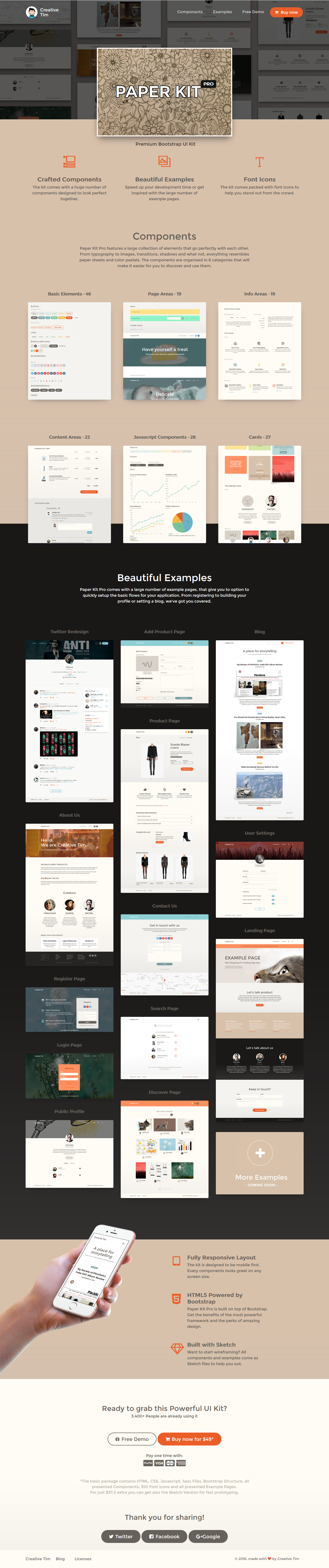 Paper Kit PRO: Premium Bootstrap UI Kit is a set of coded web