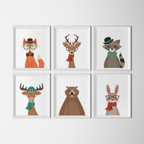 Hipster Woodland Animal Printable Nursery Decor White Background Art In Prints Kids Room