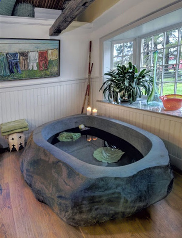 Bathroom, Natural Stone Bathtubs Combining Comfort Wooden Floor Design  Collection: Decorative, Marvelous Stone Tub For Pure Relaxation