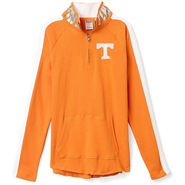 PINK University of Tennessee Bling Half-Zip Tunic ($65) ❤ liked on Polyvore featuring tops, tunics, white, white top, pink sequin top, oversized white top, sequin tunic and sequin top
