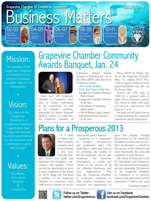 January Grapevine Texas Chamber Of Commerce Monthly Newsletter