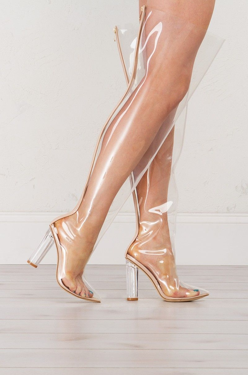 14afbb4db50 Side view Transparent Thigh High Boots