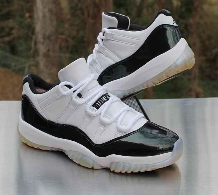 c07f1cc9ea2 Nike Air Jordan 11 Retro Low Emerald 528895-145 Black White Men's Size 9.5 #