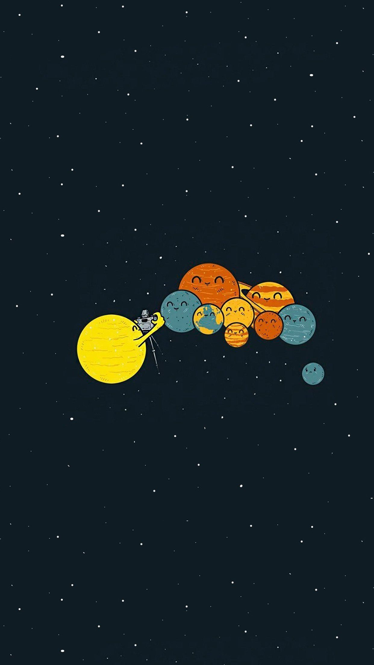 Nice Love Wallpapers For Iphone : nice planets-cute-illustration-space-art-iphone6-plus-wallpaper Mobile Wallpaper Pinterest ...