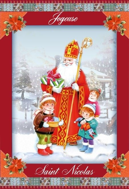 Epingle Sur Fete De Saint Nicolas Cartes Sinterklaasfeest Kaarten The Feast Of St Nicholas Cards