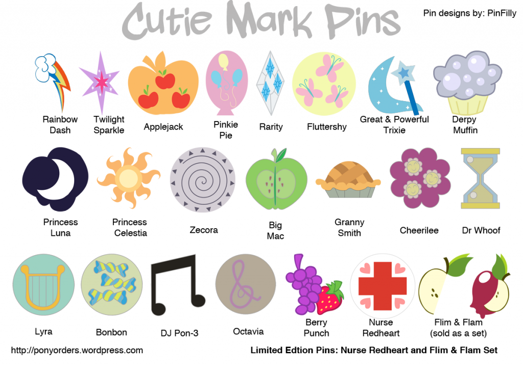 Cutie Mark Pins From My Little Pony Friendship Is Magic