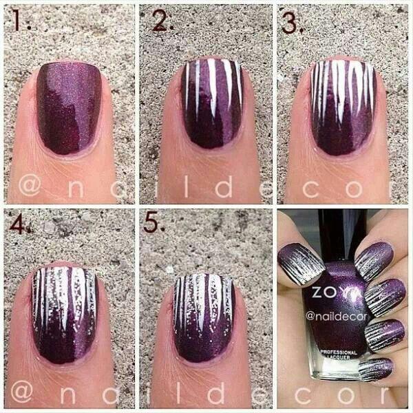 Purple - Silver - Nail design
