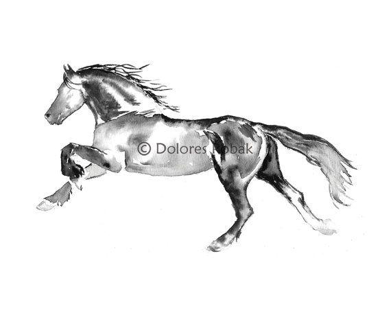 art print aquarelle cheval ado fille chambre decor en cours dexcution cheval cadeau de - Cadeau Cheval